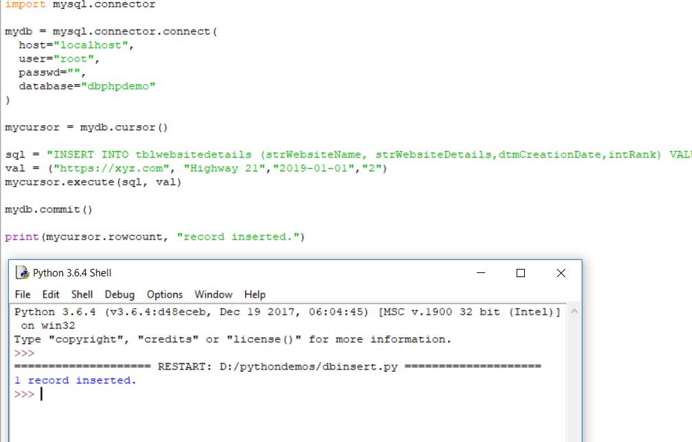 Python Script to Insert MySQL Data - OCJP